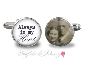 Always In My Heart- Memorial Photo Cuff Links - Personalized Cuff Links- Photo Cufflinks - Wedding Cufflinks - UK