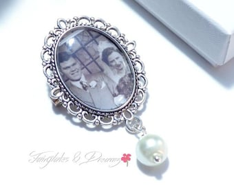 Memorial Photo Brooch personalised with your own photo, Wedding Brooch, Memorial Jewellery, Wedding Keepsake, Photo Pin, Rememerance, UK