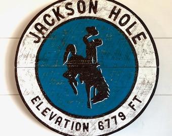 Jackson Hole, Wyoming Art, Cowboy, Jackson Wyoming, Grand Teton National Park, Bucking Horse and Rider, Barnwood Sign, Salvaged Wood Art