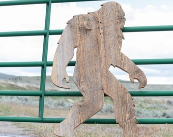 Bigfoot, Hiking, Hiking Sign, Sasquatch, Hiking Access Sign, National Forest, National Park, Barnwood Sign, Salvaged Wood Art, Rustic Art