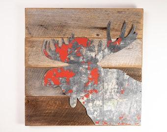 Moose Art, Wildlife Art, Barnwood Sign, Montana Art, Barnwood Art, Barnwood Sign, Wood Sign, Salvaged Wood Art, Rustic Art, Salvage Signs