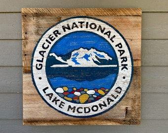 Glacier National Park, Lake McDonald, Montana Art, Glacier Park, National Parks, Barnwood Sign, Salvaged Wood Art, Rustic Art, Salvage Signs
