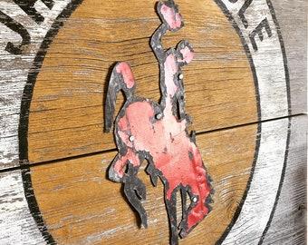 NEW, Jackson Hole, Wyoming Art, Cowboy, Jackson Wyoming, Grand Teton National Park, Bucking Horse and Rider, Barnwood Sign, Salvaged Art