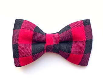 58a6dd412c6 Boys Red and Black Buffalo Plaid Bow Tie with Elastic Backing