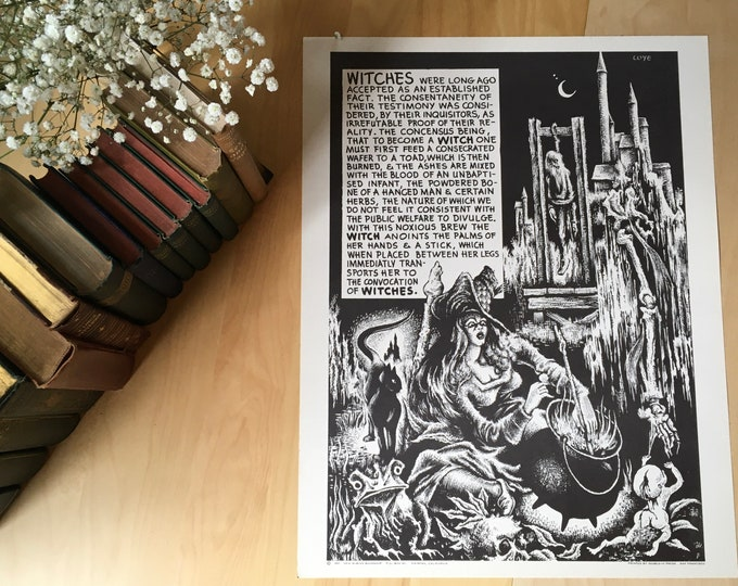 Featured listing image: Original 1967 Lee Brown Coye Witches Poster, Weirdisms Series