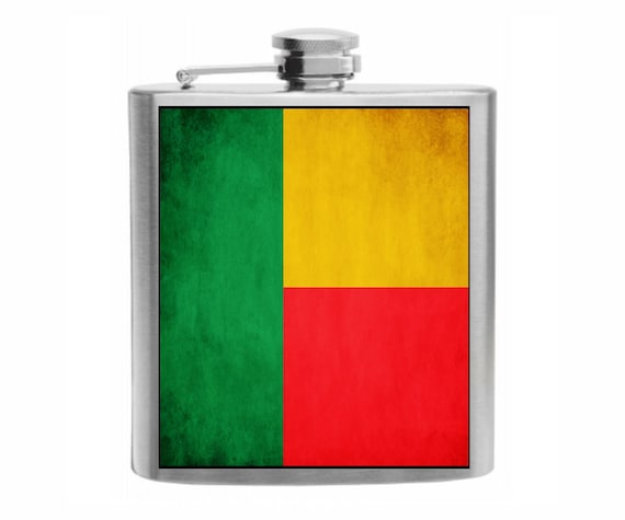 Azerbaijan Flag Stainless Steel Hip Flask 6oz