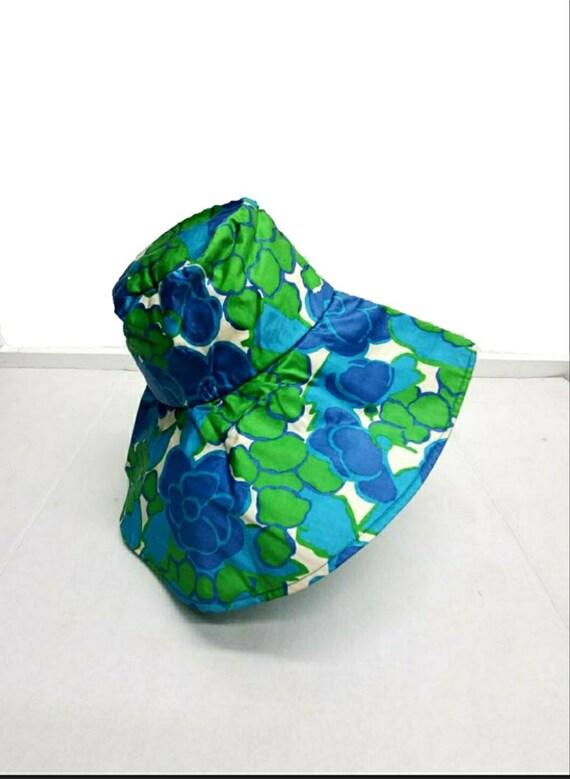 60s hat // vintage floral green //floppy sun hat