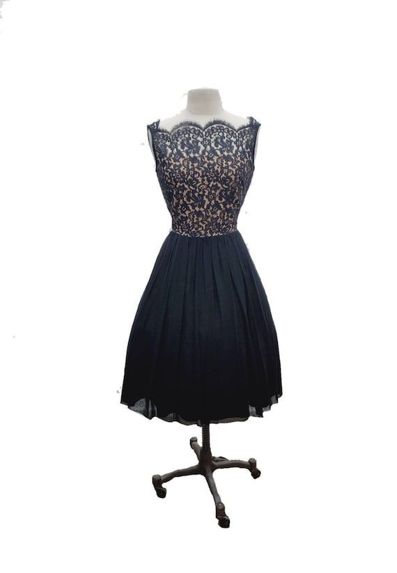 Gay Gibson 50s Dress sz large // vintage lace dres