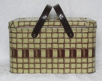 Vintage metal picnic basket with handles & removable lid 1950's retro mid century decor farmhouse