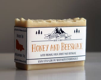 Honey and Beeswax Soap - Handmade Soap, Cold Process Soap, Organic Local Honey and Beeswax, Palm Free Soap