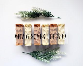 Soap Bundle - Choose any 6 Bars - Handmade Soap, Cold Process Soap, Palm Free Soap.