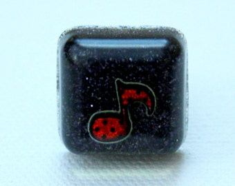 Resin Ring - Music Note Ring - Resin Jewelry - Glitter Ring - Black Ring - Square Ring - Glitter Resin - Adjustable Ring - Teen Gift