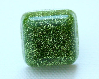 Resin Ring - Green Ring - Resin Jewelry - Glitter Ring - Square Ring - Glitter Resin - Adjustable Ring - Teen Gift
