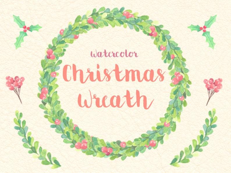 Christmas Wreath Watercolor Clip Arts Digital Plants Party Etsy