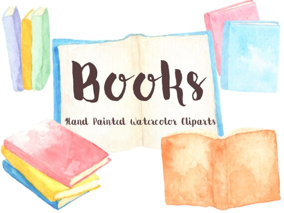 Books Party Watercolor Clipart Digital File Reading club | Etsy
