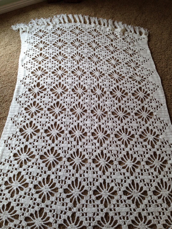 Lacy weiß gehäkelt Afghanische weiß Afghan häkeln Decke