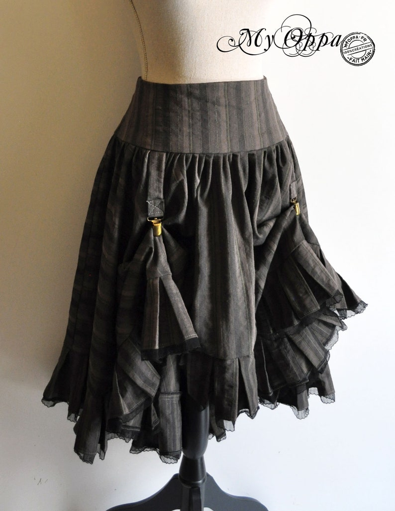 double sided skirt steampunk  pirate with folds