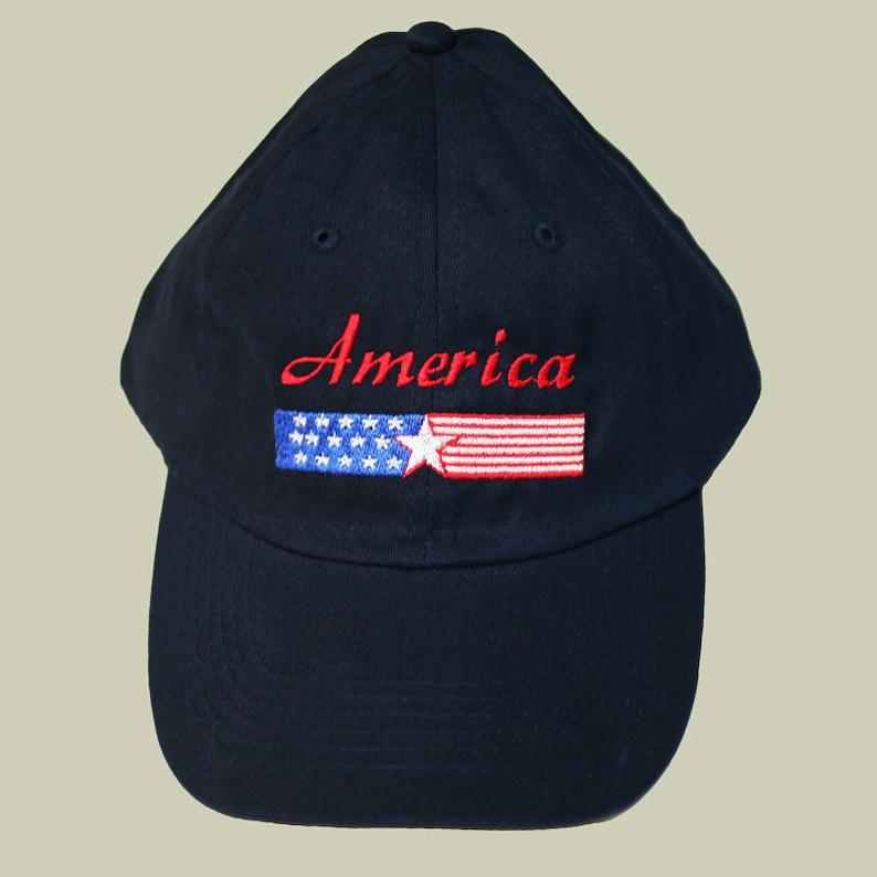 America Banner Navy Baseball Cap