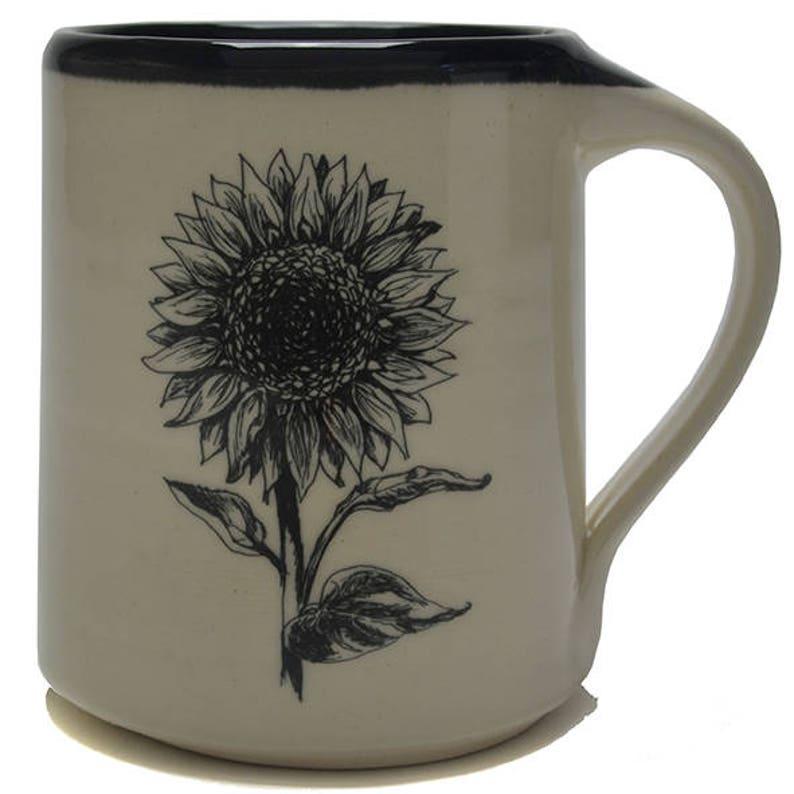 Handmade Pottery mug with sunflower design