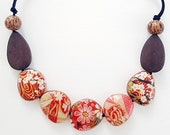 Origami Cocunut Crush Cherry Blossom Necklace, Japanese Chiyogami Paper Decoupage and Wooden Bead