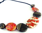 Origami Black Crane Necklace, Japanese Chiyogami Paper Decoupage Wooden Bead