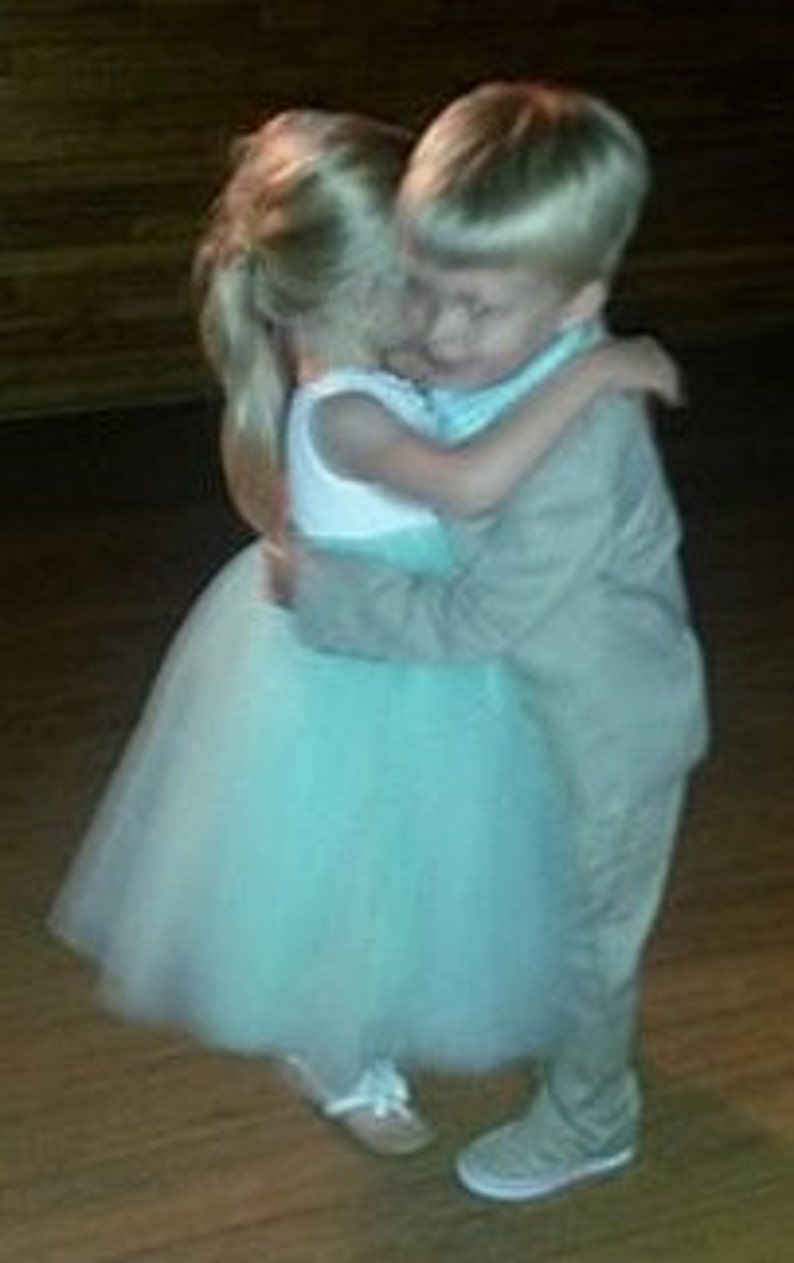 One Shoulder White /& Mint Green Cotton and Tulle Flowers and Pearls Flower Girl Dress...Choose Your Colors