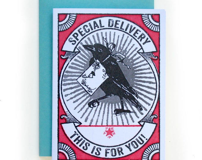 This Is For You Petite Letterpress card RAVEN RED