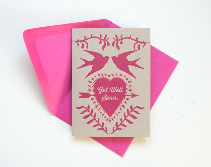 NEW!  letterpress card Get Well Soon sparrows