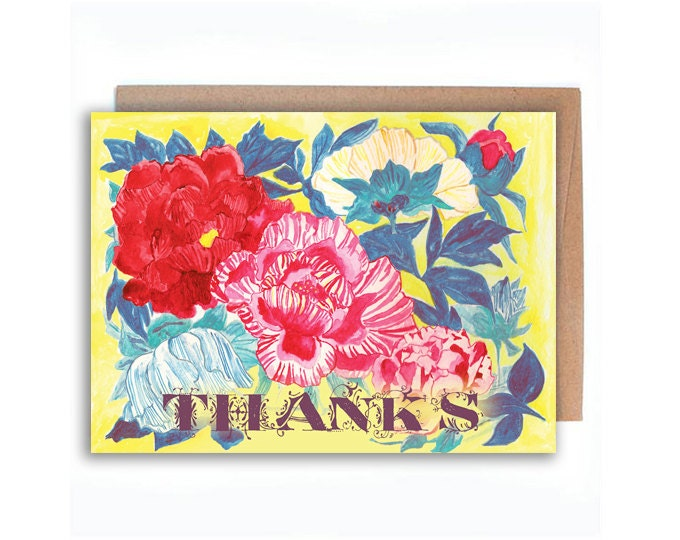 Colorful Peonies Thank you 5 x 7 Card