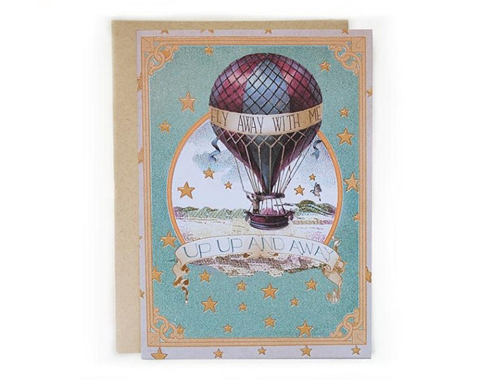 Fly Away With Me, Up Up and Away. 5x7 Greeting card. Eco-friendly.