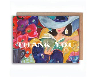 Matisse Inspired Thank You / stylish woman reading book wearing a sunhat 5 x 7 Greeting Card