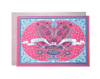 "Folk Lover ""Thank You"" 5x7 card"
