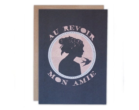 French Silhouette Design - Goodbye  my Friend, going away themed 5 x 7 note card.