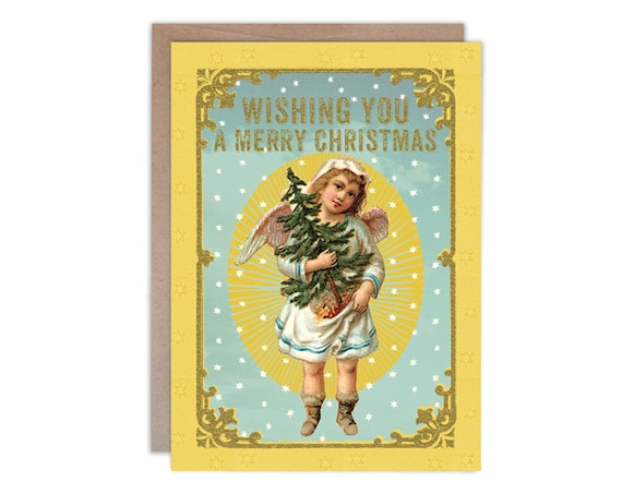 Wishing You A Merry Christmas, 5 x 7 greeting card with gold accents