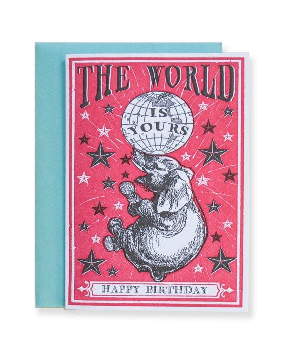 The World Is Yours Petite Letterpress Card / Red