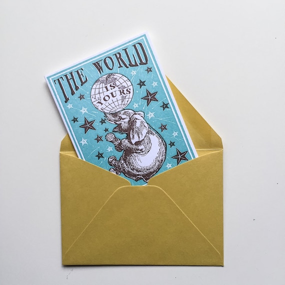 NEW! letterpress card Elephant Birthday TEAL