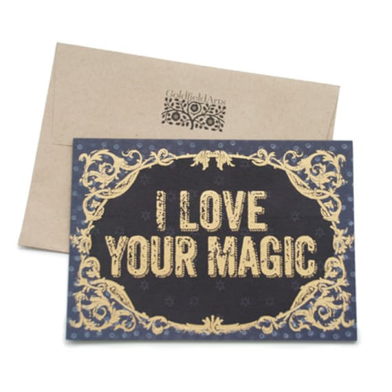 Gold pressed greeting card. I love your magic.