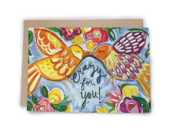 Crazy For You Illustration Greeting Card Love Birds