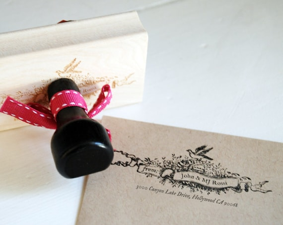 Custom Address Stamp - Vintage floral bird with scrollwork