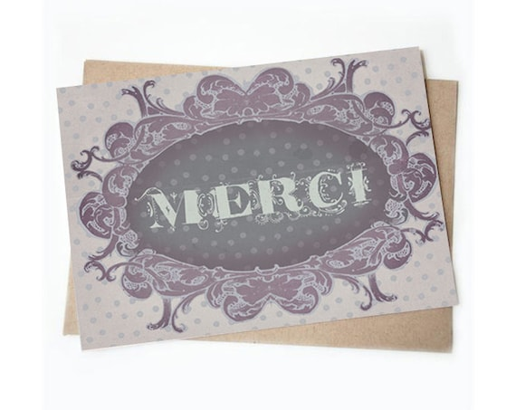Merci - French themed 5 x 7 Thank you card