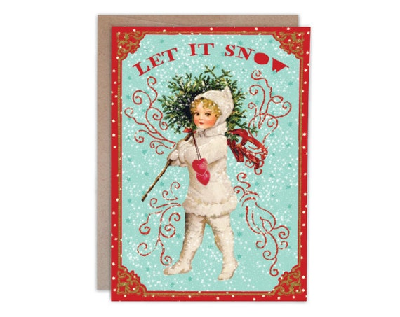 Let It Snow - Holiday Greeting Card with gold accent