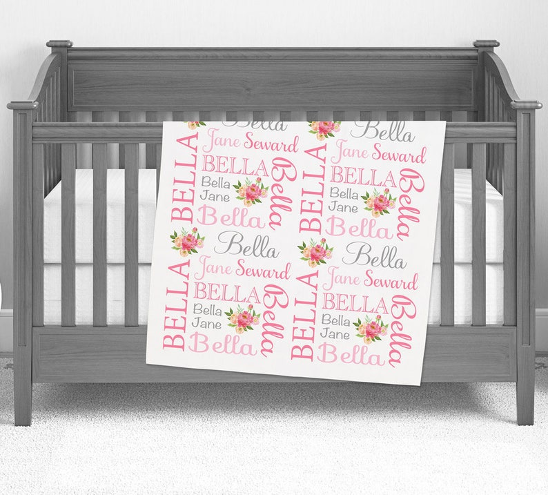 Pink Gray Gifts for baby girl Custom name blanket Birthday gift idea Personalized swaddle blanket printed Personalized Floral Blanket