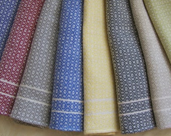 Custom LINEN Weft Handwoven Towel - 8 Colors, 25 patterns! READ DESCRIPTION Carefully. Dish Tea Kitchen Hand Bread Towels