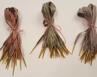 Basic Points with Linen Ribbon and Brass Aiglets for Doublets and Hose for Reenactment or Fancy Dress - Multiple Colours