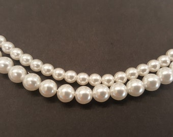 String of Czech Glass Imitation White Pearls - ideal for Tudor Reenactment/historical dress - two sizes