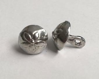 Set of 12 Replica Tudor Pewter Flower Dome Buttons for Renaissance/Elizabethan Reenactment - Small