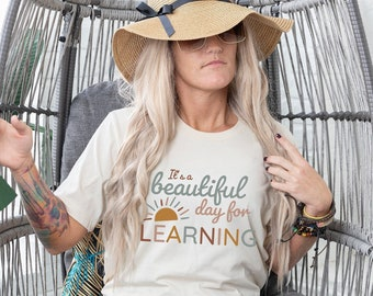 Teacher Shirt   It's a Beautiful Day For Learning Tee   Teacher Tee   Team Teacher Tees   Teacher T-Shirts   Learning Shirt   Graphic Tee  