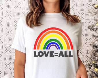 Y'all Means All Pride Shirt, Rainbow Tee, , Y'all=All, Gay Pride Shirt, LGBTQ Pride Shirt, Trans Tee, LGBTQ Clothing, Graphic Tees