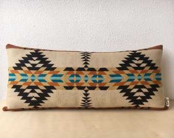 Rancho Arroyo Sandstone and Black Lumbar // Geometric Wool Pillow