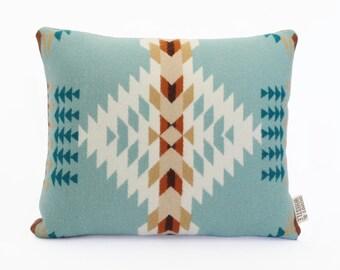 Geometric Wool Pillow // Rancho Arroyo Aqua  Blue / cream